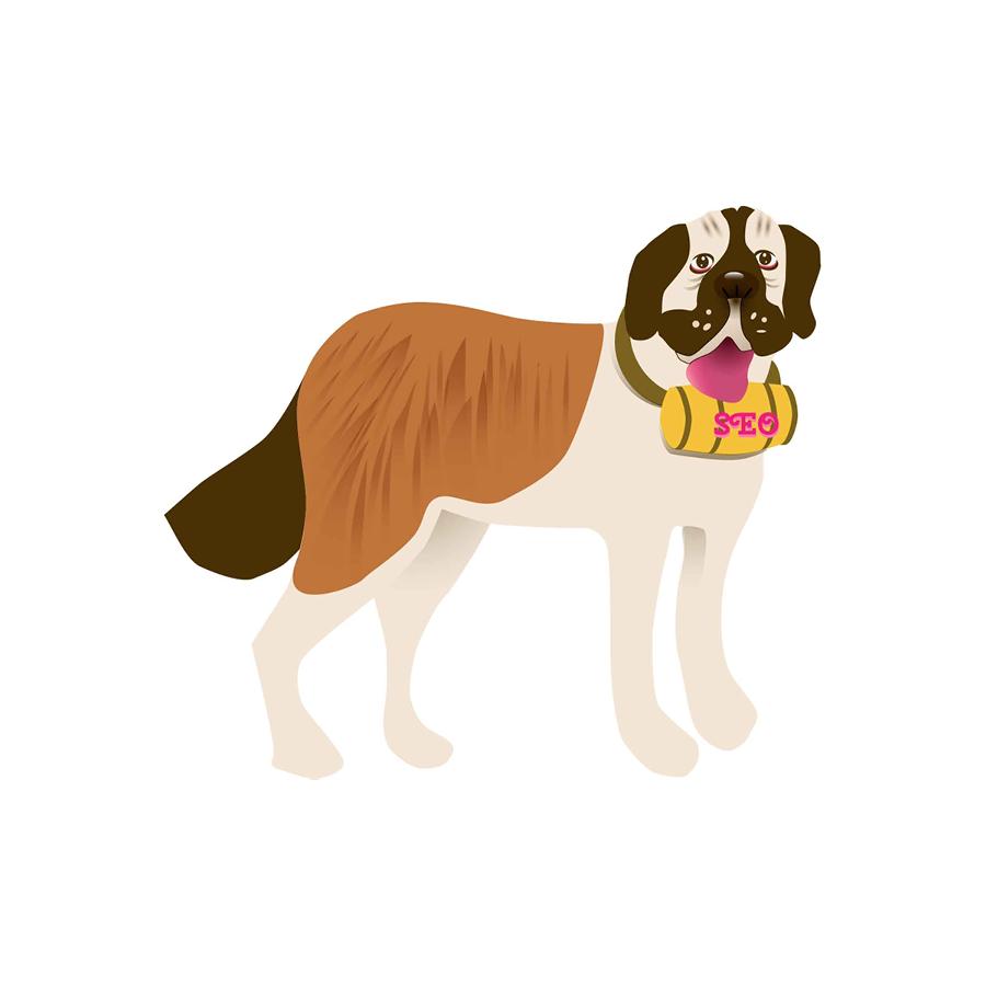Illustration of a St. Bernard.  SEO Rescue Dog.